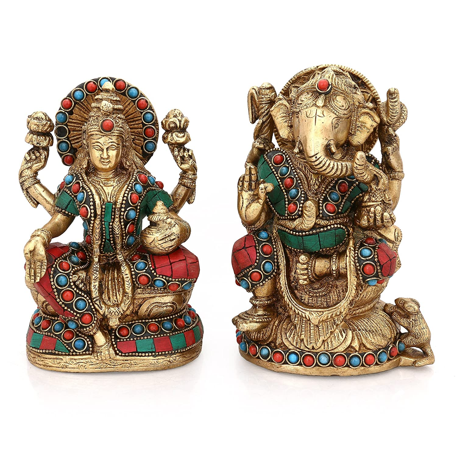 Collectible India Brass Lakshmi And Ganesh Idol Set (10 Cm X