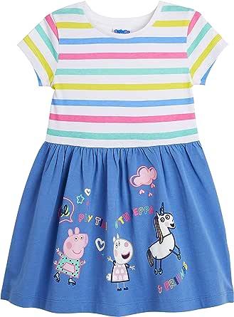 Peppa Pig Vestido Verano, Ropa Niña 100% Algodon, Vestidos de Unicornios para Niñas con Estampado de Peppa, Vestidos Niña Manga Corta, Regalos para Niñas 12 Meses a 5 Años