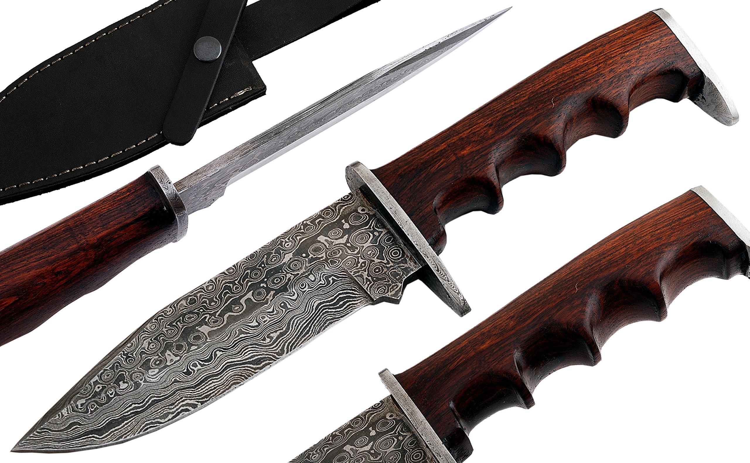 Custom Handmade Damascus Steel Bowie Hunting Knife with leather Sheath - Rose wood defender handle