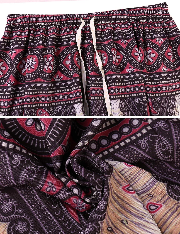 Doaraha Mujer Pantalones Harem Tailandes Hippies Boho Flores Bombachos Sueltos Yoga Pantal/ón Cintura Alta Pijama S-XL