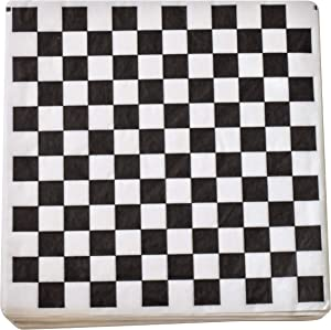 1000 Sheets Burger/Sandwich Wrapping Paper - 12 Inch Food Basket Liners - Black and White Checkered Design