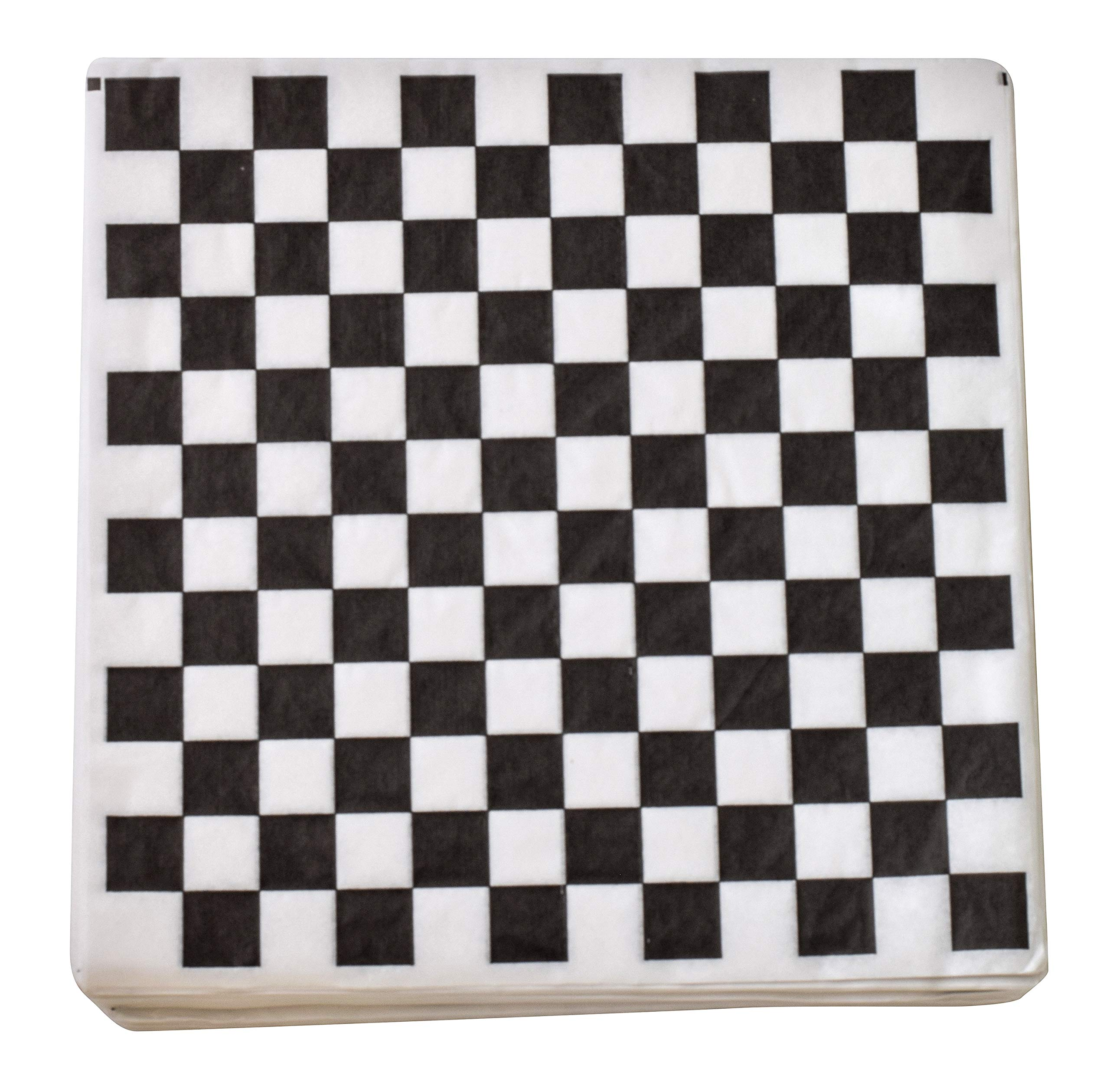 1000 Sheets Burger/Sandwich Wrapping Paper - 12 Inch Food Basket Liners - Black and White Checkered Design by JA Kitchens