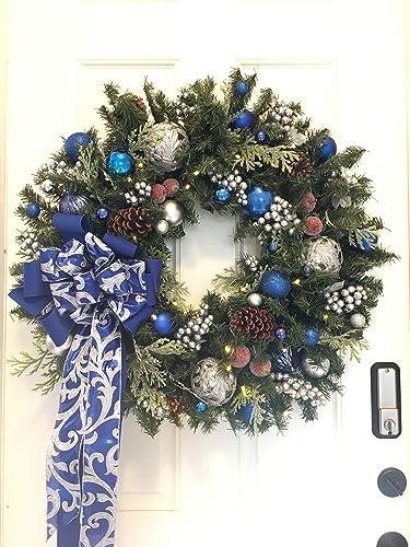 wonderful 30 blue christmas wreath artificial wreath free shipping - Blue Christmas Wreath