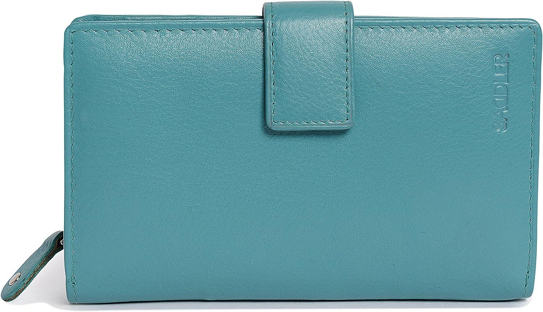 Bleu Sarcelle Portefeuille SADDLER pour Femmes en Cuir Nappa Moyen avec Fermeture /à glissi/ère