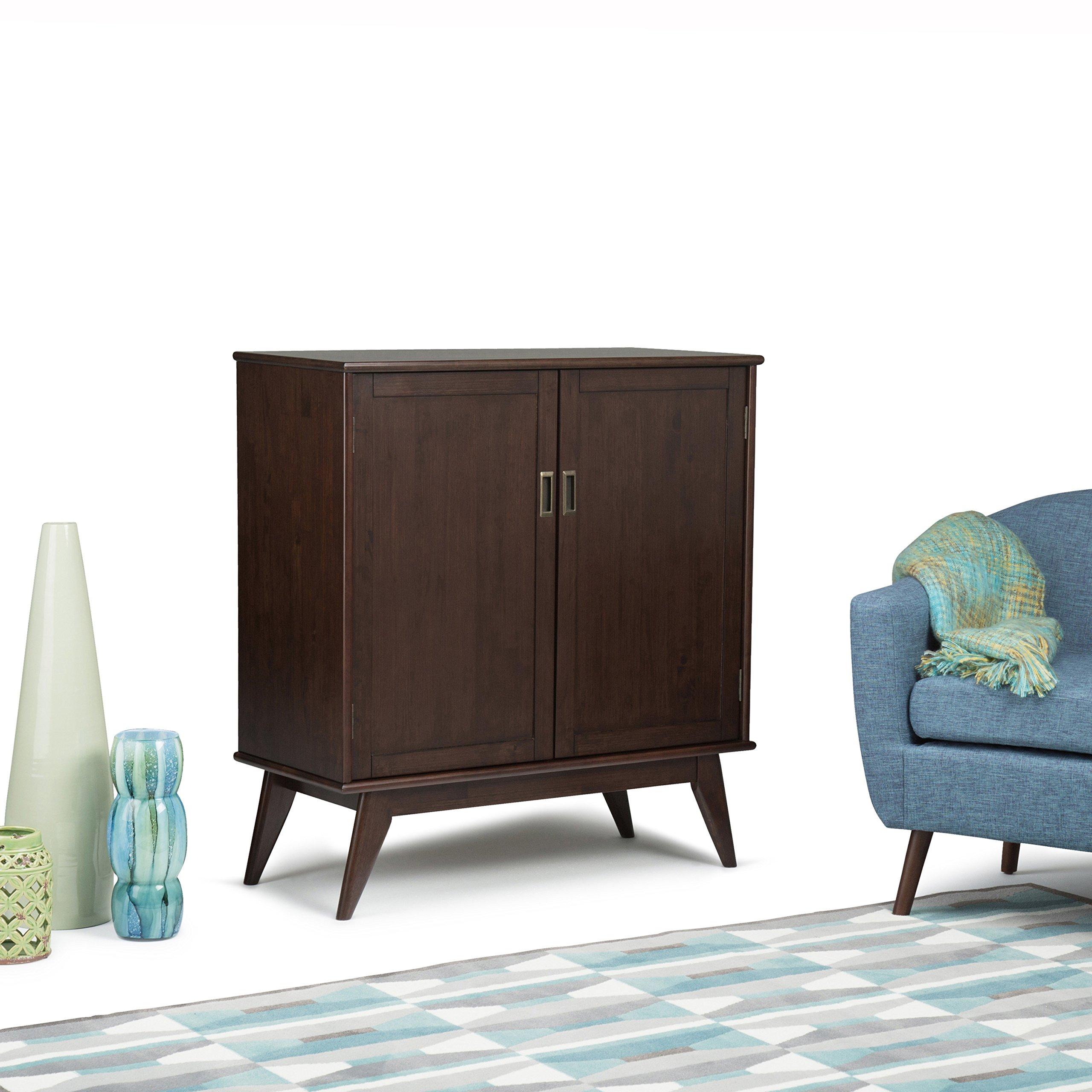 Simpli Home Draper Mid Century Solid Hardwood Storage Cabinet, Medium, Auburn Brown by Simpli Home (Image #2)