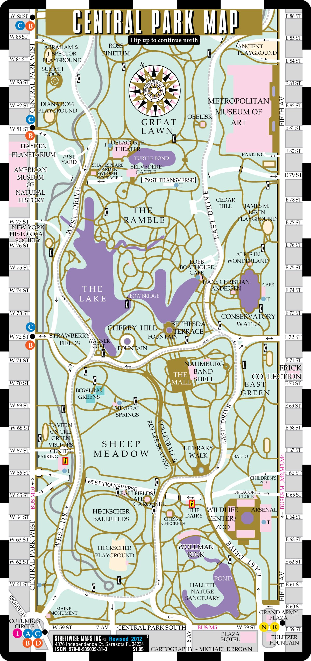 Streetwise Central Park Map - Laminated Pocket Map of Central Park on