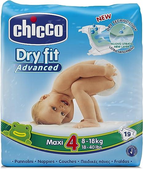Chicco DryFit - Pack de 19 pañales ultra absorbentes, talla 4, 8-18 Kg: Amazon.es: Bebé