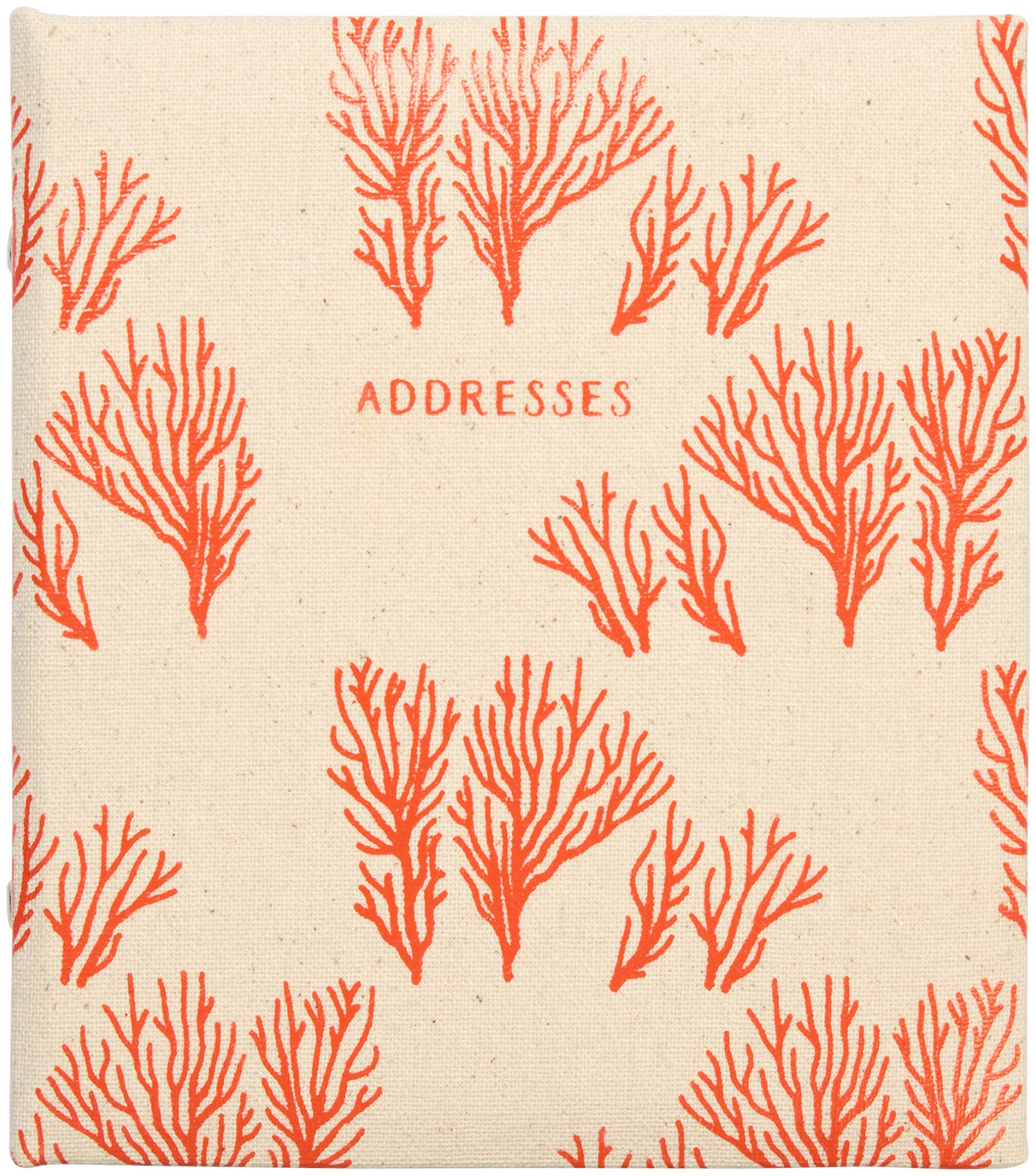 C.R. Gibson Beach House and Nautical Décor Tan and Pink Coral Refillable Large Address Book, 440 Entries, 6.5'' W x 7.25'' H