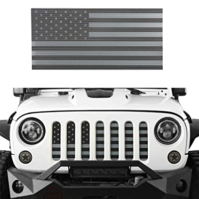 Hooke Road Front US American Flag Jeep Grille Insert Old Glory for 2007-2020 Jeep Wrangler JK & Wrangler Unlimited (Black Out): Automotive