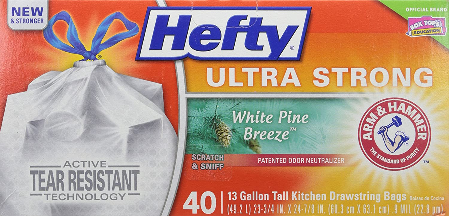 Hefty Ultra Strong Tall Kitchen Drawstring Trash Bag, White Pine Breeze, 40Count