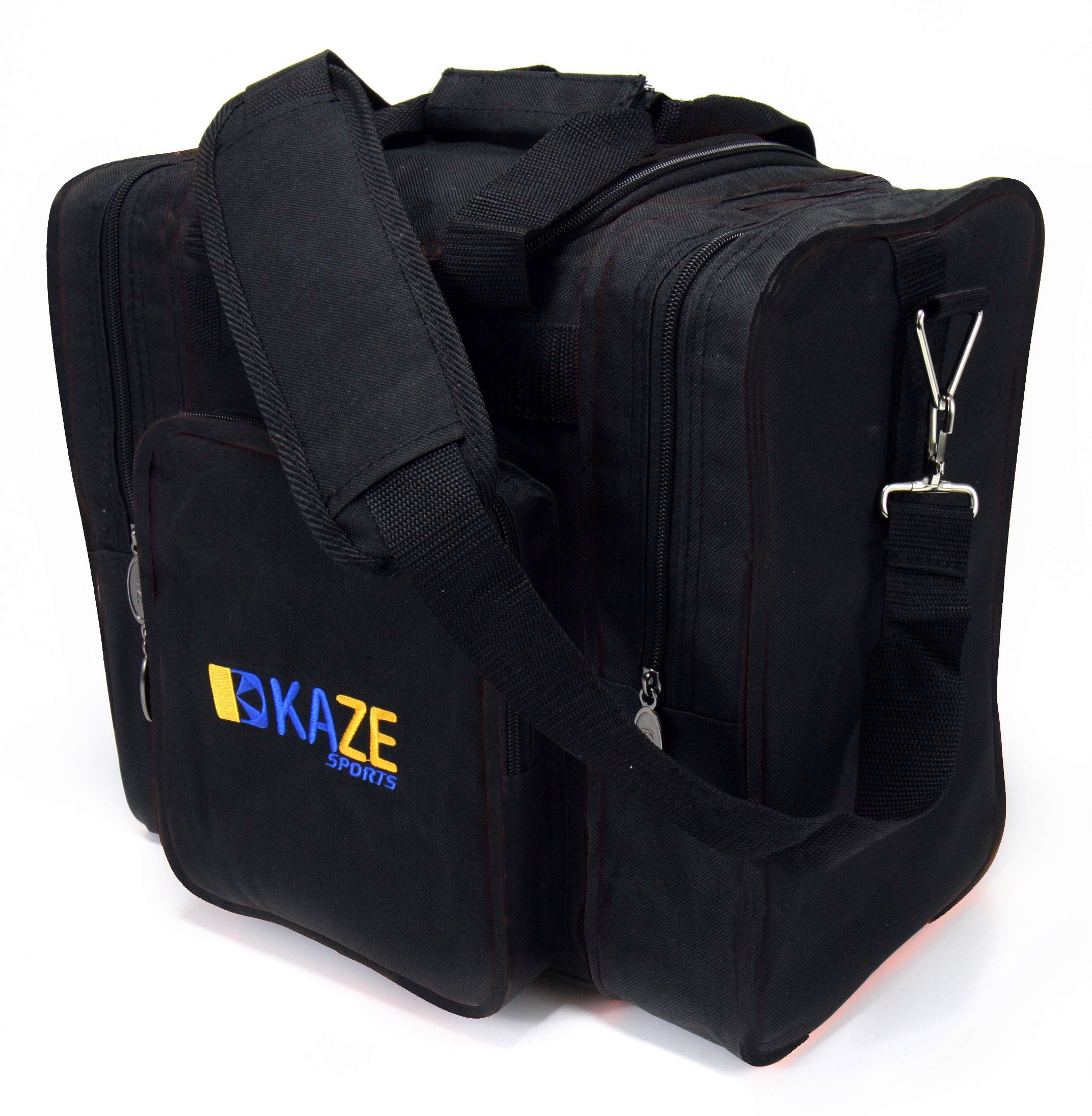 KAZE SPORTS Deluxe 1 Ball Bowling Tote with Two Side Pockets (Black-Black)