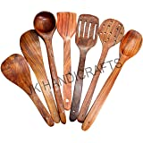 Jk Handicrafts Handmade Wooden (Rose Wood) Serving and Cooking Spoon & Kitchen Tools Utensil, Non Stick Set of 7