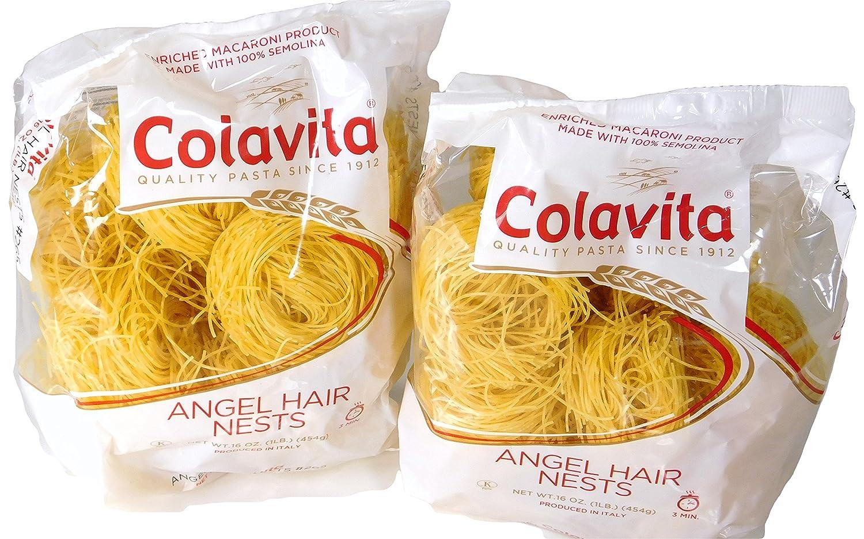 Colavita Imported Italian Angel Hair Capellini 100% Semolina Pasta Nests ( 2 packs of 16 Oz each )