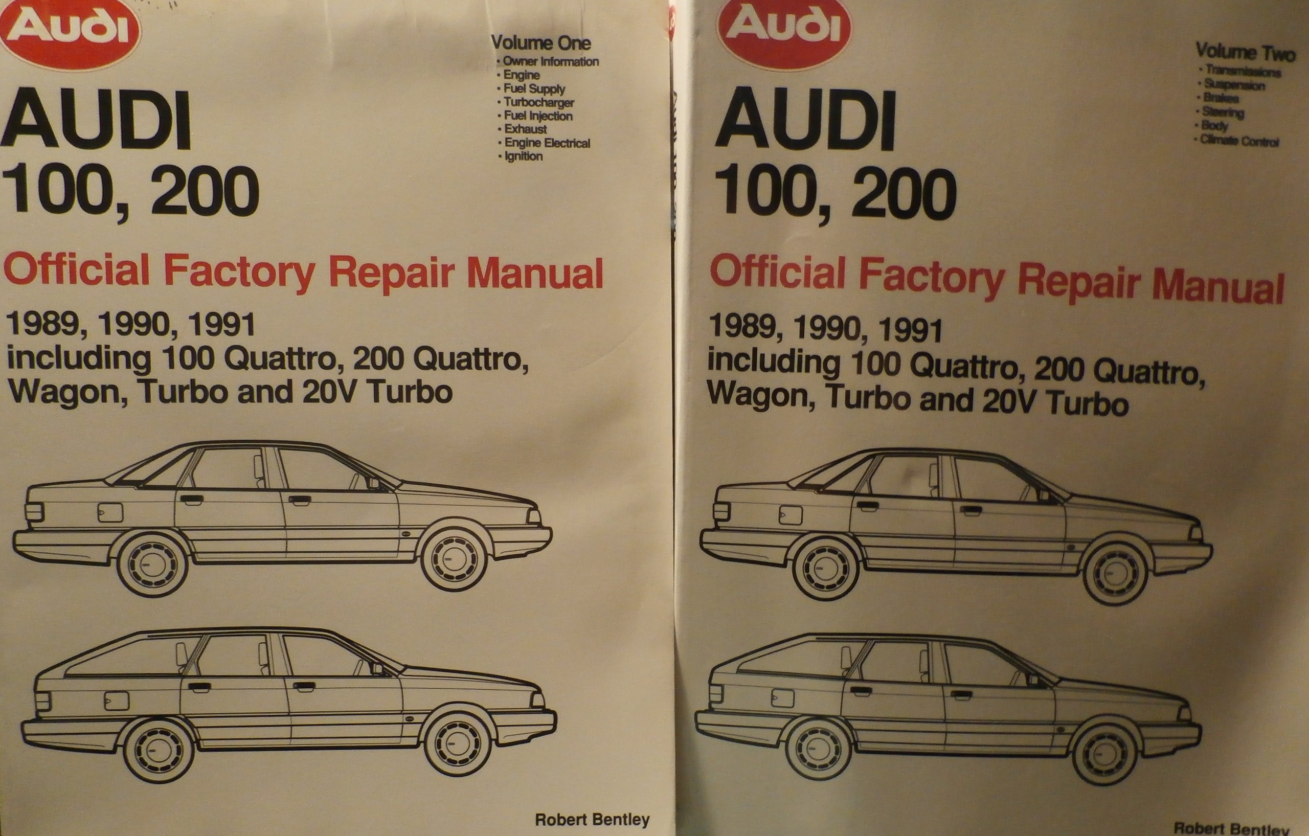 TWO Volume Set: Audi 100, 200 Official Factory Repair Manual 1989, 1990, 1991 Including 100 Quattro, 200 Quattro, Wagon, Turbo and 20V Turbo: Robert ...
