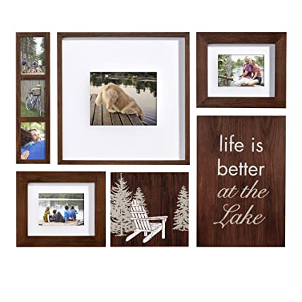 Amazon.com - Beyond Words Lodge 6-piece Wall Photo Frame Set, Brown -