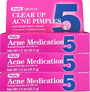 3 Pack - Rugby Acne Medication Gel Benzoyl Peroxide 10% 1.5 oz 4 Pack - Dermaluxe Advanced Cleansing System, White 1 ea