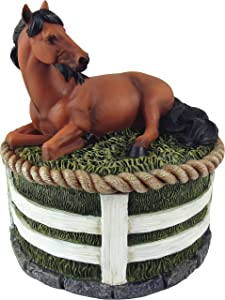 DWK - Stallion Stash - Beautiful Brown Standard Bay Horse with Black Mane Country Western Figurine Sculpture Stash Trinket Keepsake Jewelry Storage Box Home Decor Accent and Office Accessory, 5.5-inch