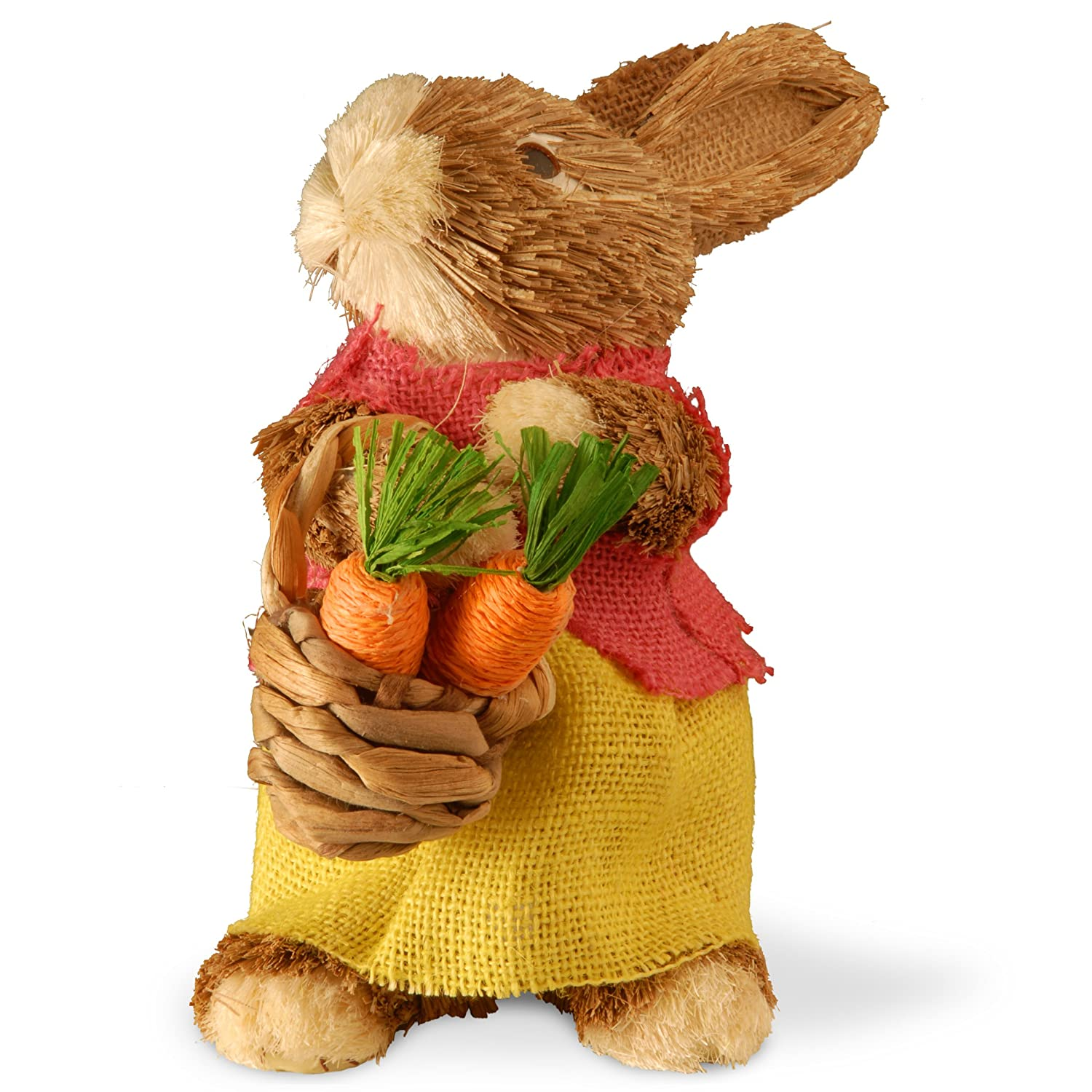 RAE-129036-1 National Tree 9 Inch Brown Standing Rabbit with Burlap Skirt