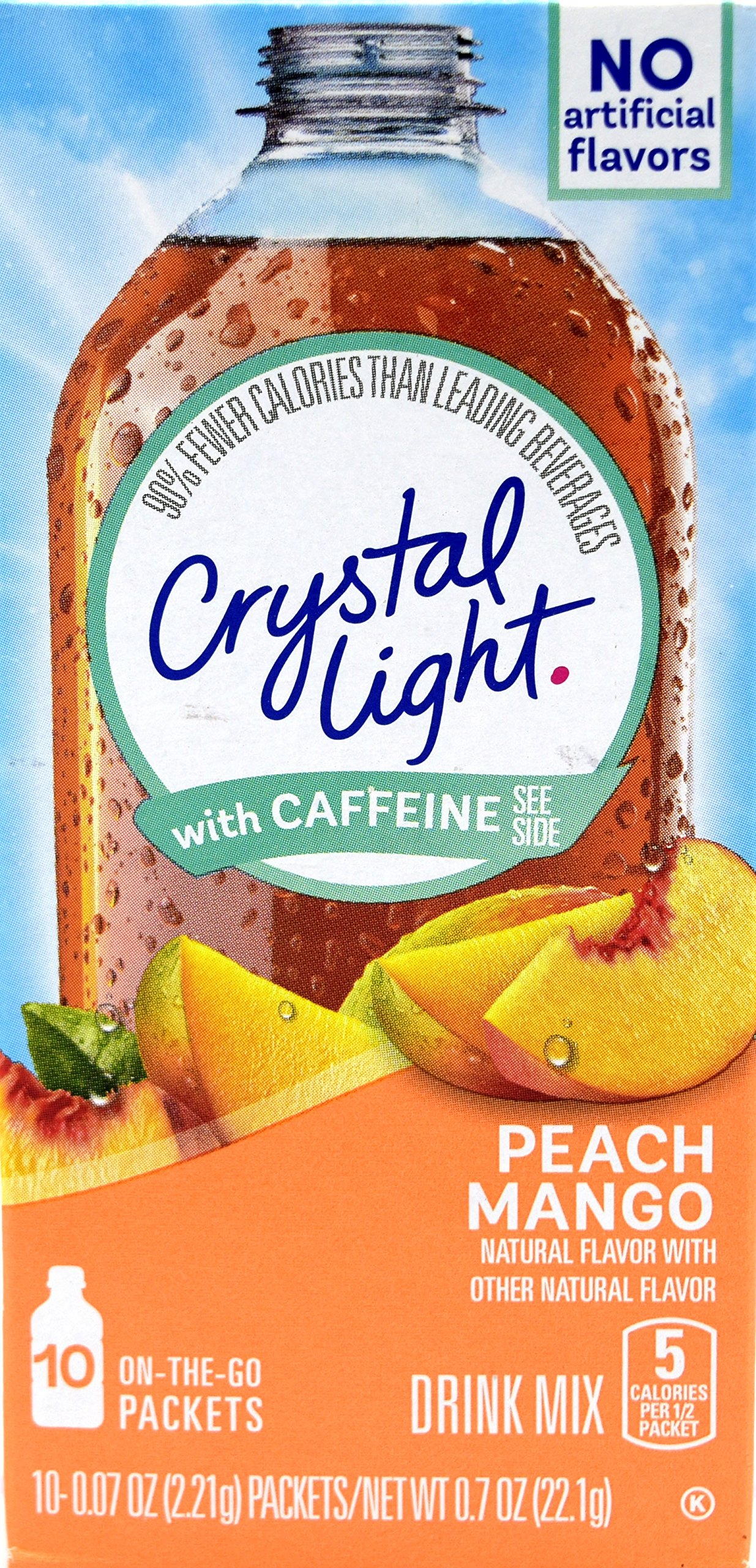 Crystal Light On The Go Peach Mango With Caffeine Drink Mix, 10-Packet Box (Pack of 45) by Crystal Light