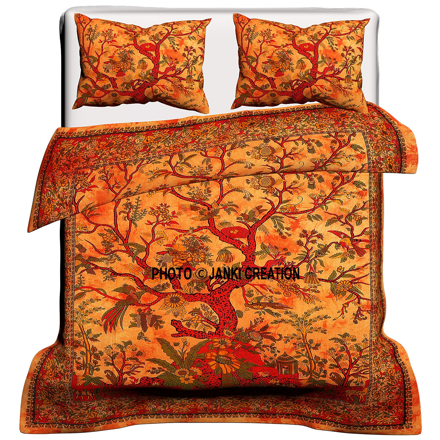 Tree Of Life Cotton Queen Duvet Cover Quilt Cover Bohemian Hippie Bedspread Quilt Handmade Duvet Cover With Pilow Cover (Orange) 80X82 Inches By Janki Creation