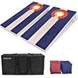 GoSports Flag Series Wood Cornhole Sets – Choose between American Flag and State Flags – Includes Two Regulation Size 4…