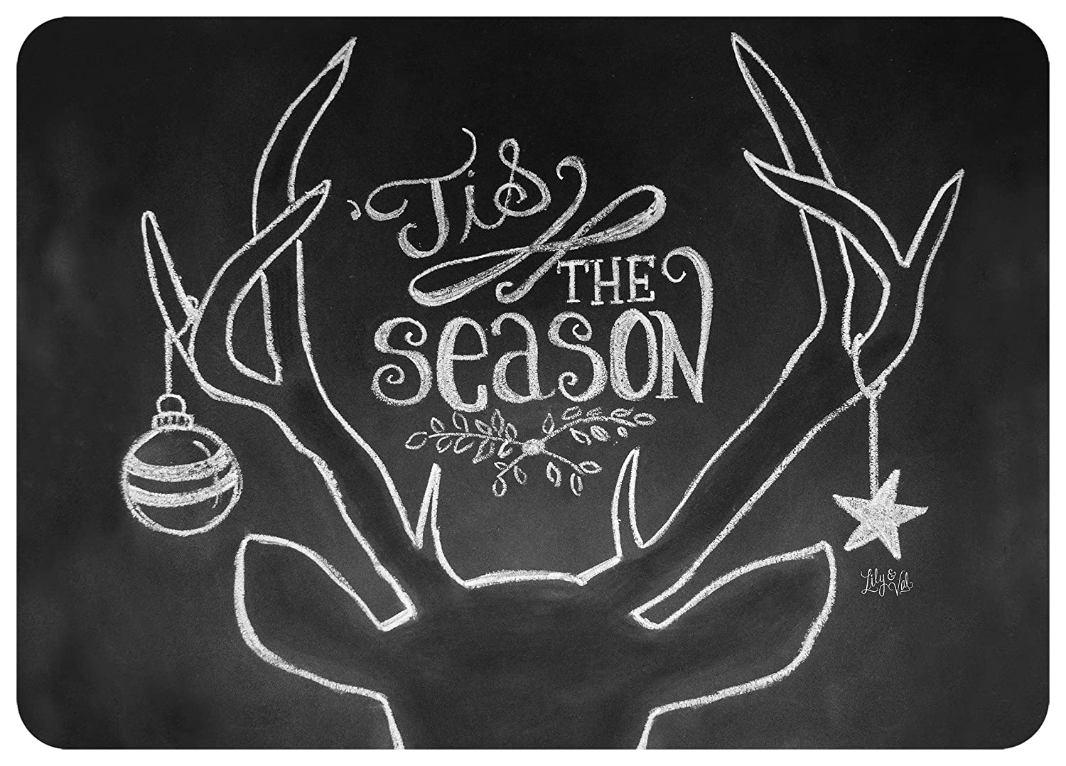 Novelty Tis The Season Deer Mat by Lily /& Val Black//White 23 x 36