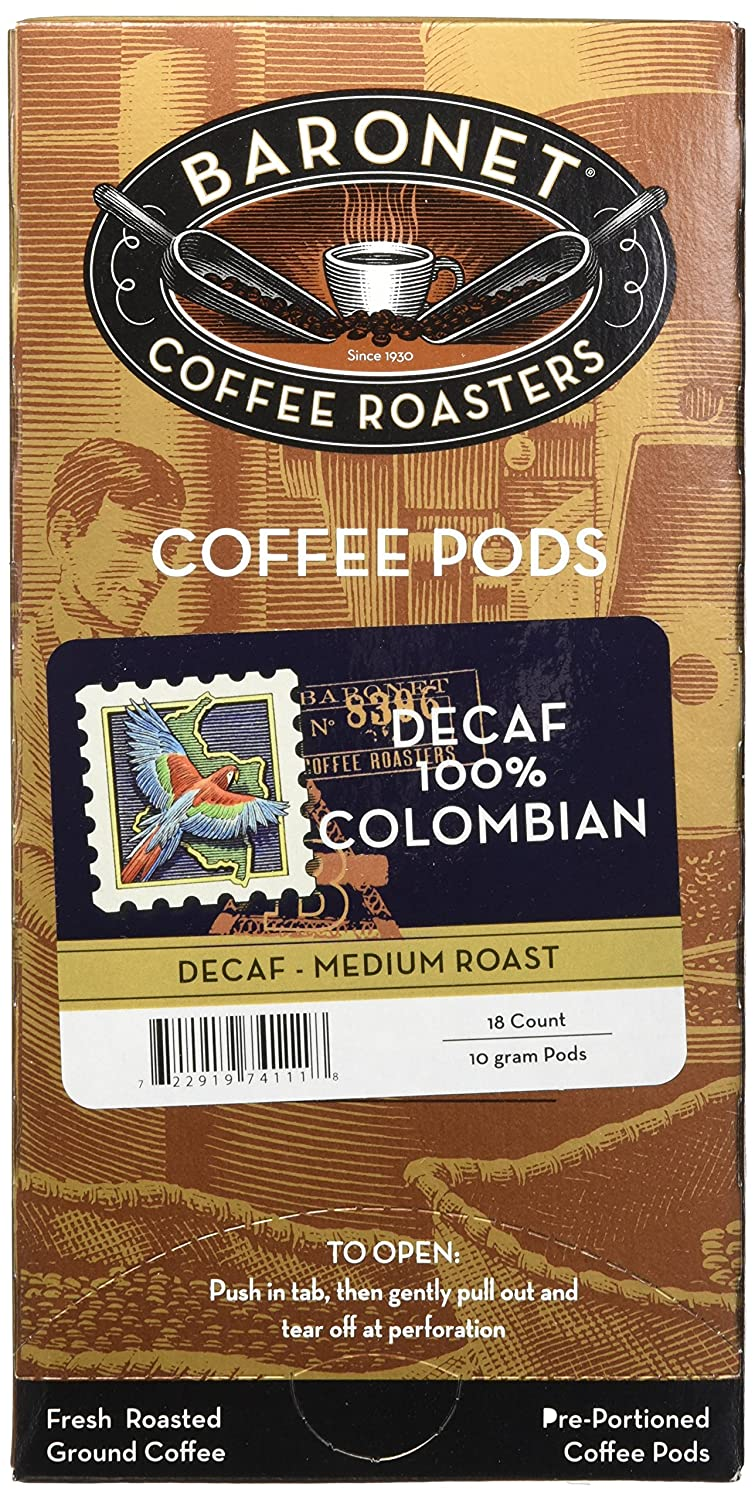 Baronet Coffee Decaf 100% Colombian Coffee Pods, 54 Count