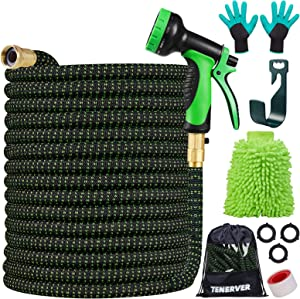"""100FT Garden Hose Expandable Set, Water Hose with 10 Functional High Pressure Nozzles, Extra Strength 3750D Fabric with 3/4"""" Solid Brass Connector Fittings & No-Kink Double Latex Core-Leak Resistant"""