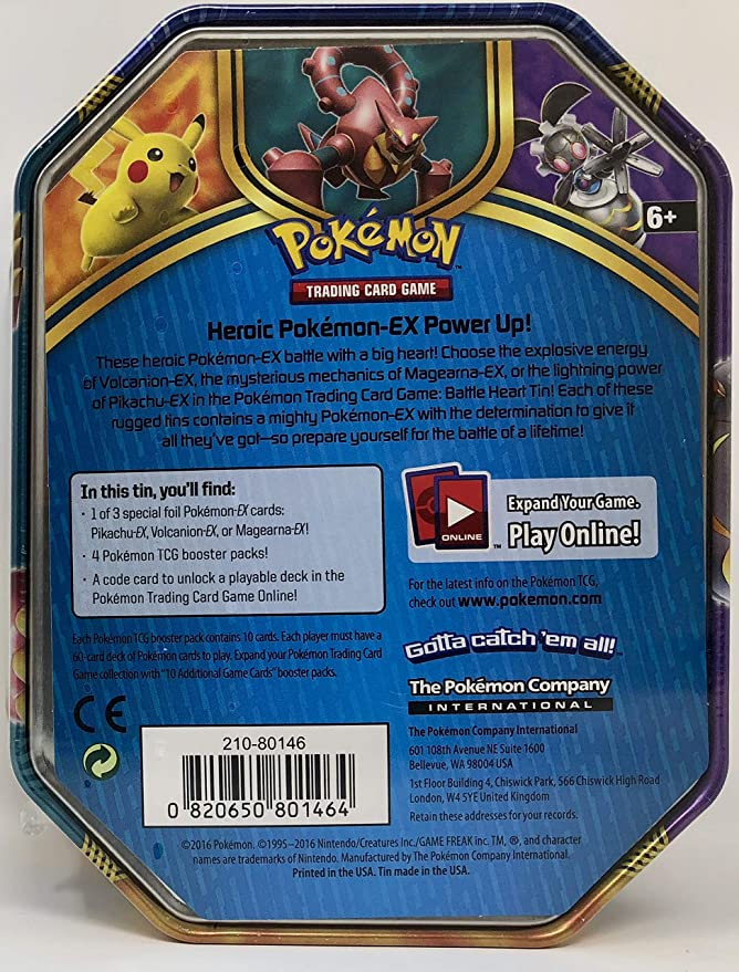 Pokemon Set of All 3 2016 Battle Hearts Booster Pack Tins - Pikachu &  Volcanion & Magearna