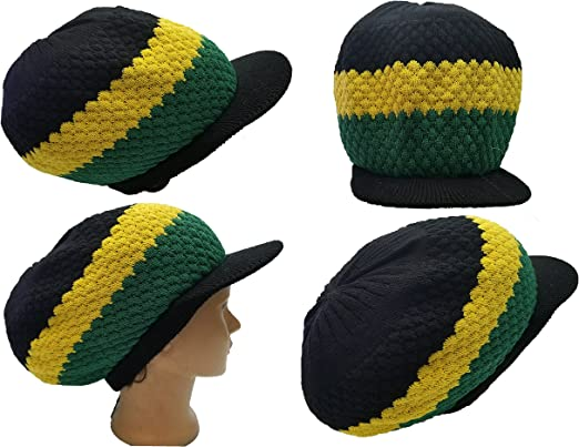 Rasta Hat Crown Cap Brown Dread Irie Knit Beanie One Love Reggae Jamaica M//L