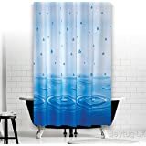 Beautiful extra long shower curtain Rain Drop 100% polyester Waterproof hooks included-2m (180cm x 200cm)
