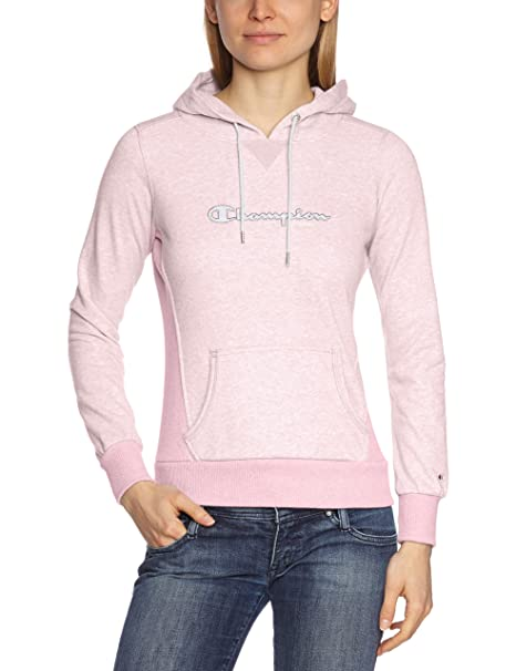 c0f52a5a58ce Champion - Felpa con cappuccio, da donna rosa pastello L: Amazon.it ...