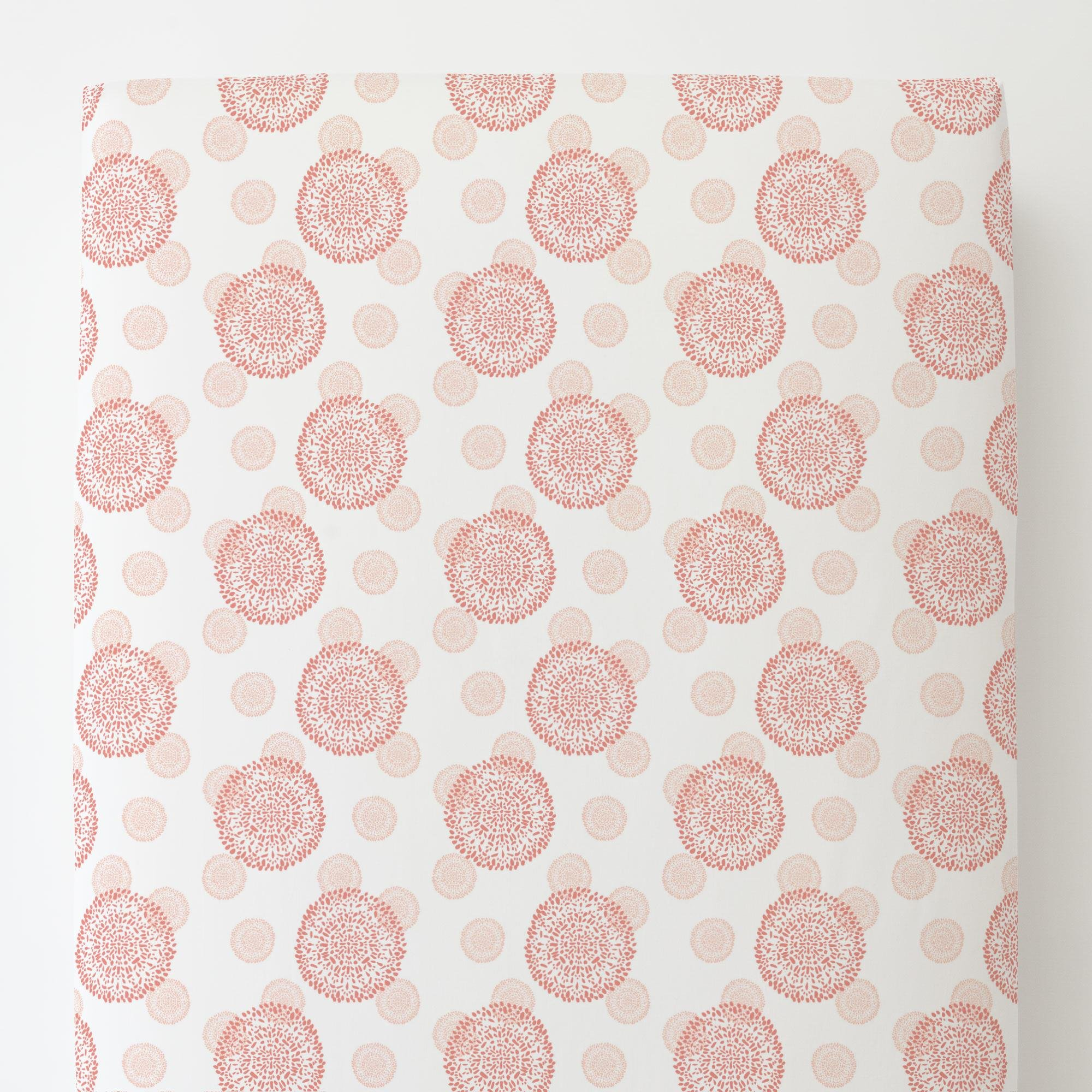 Carousel Designs Light Coral and Peach Dandelion Toddler Bed Sheet Fitted