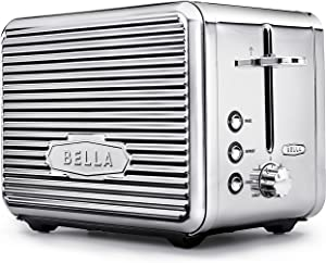 BELLA (14387) Linea Collection 2-Slice Toaster with Extra Wide Slot & Custom Settings, Polished Stainless Steel