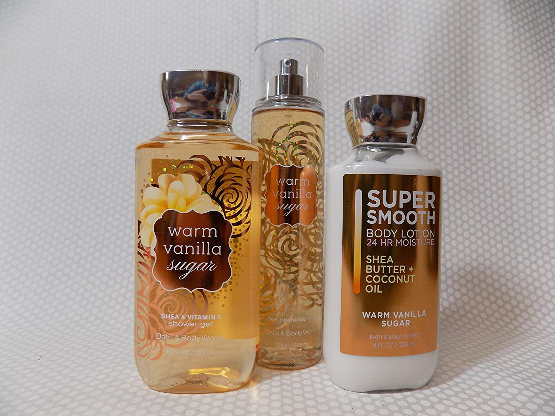 Bath and Body Work Warm Vanilla Sugar 3 Piece Set Includes 10 oz Shower Gel, 8 oz Body Lotion, 8 oz Fine Fragrance Mist
