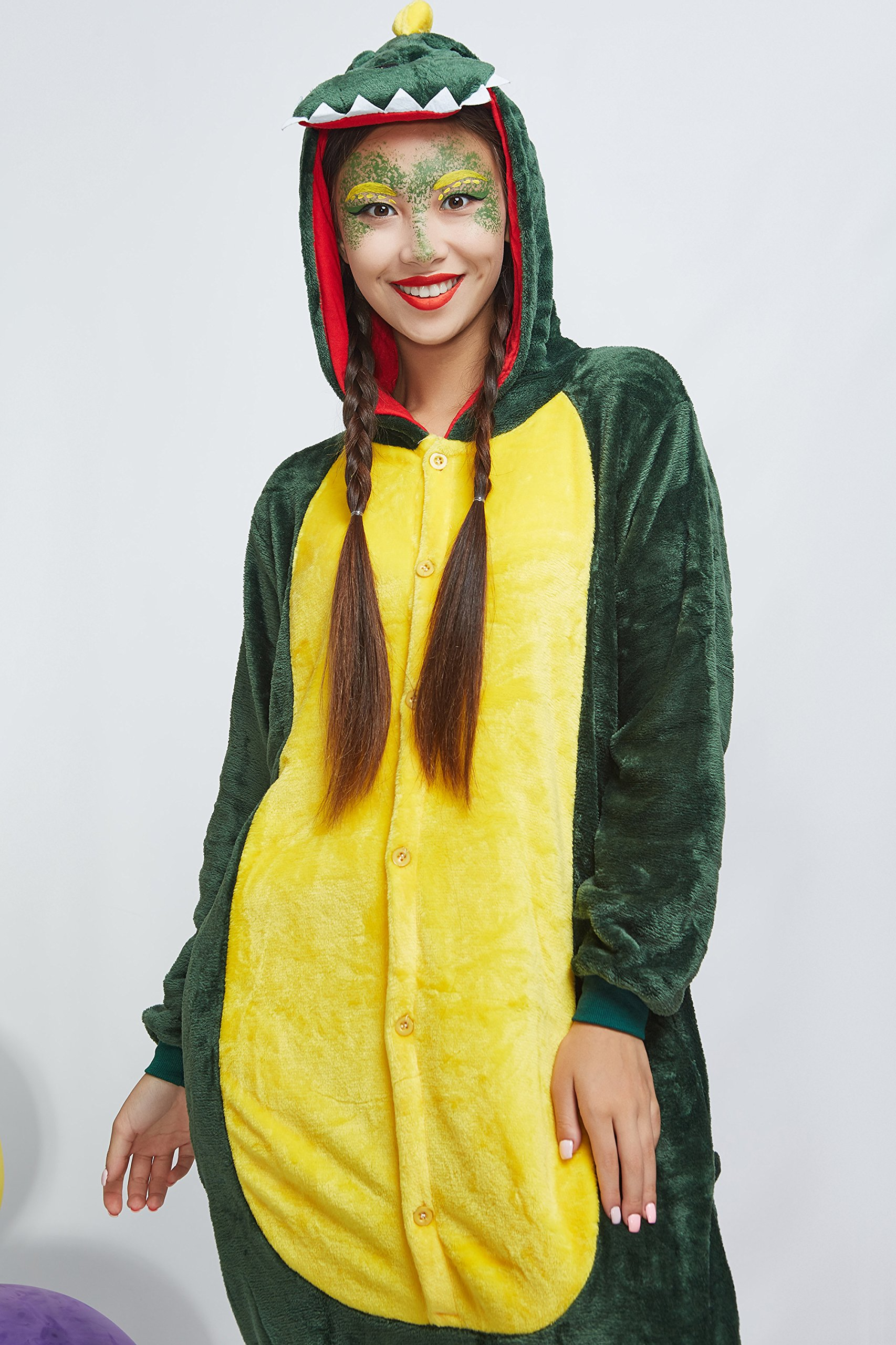 Adult Dragon Kigurumi Animal Onesie Pajamas Plush Onsie One Piece Cosplay Costume (Small, Green) by Nothing But Love (Image #7)