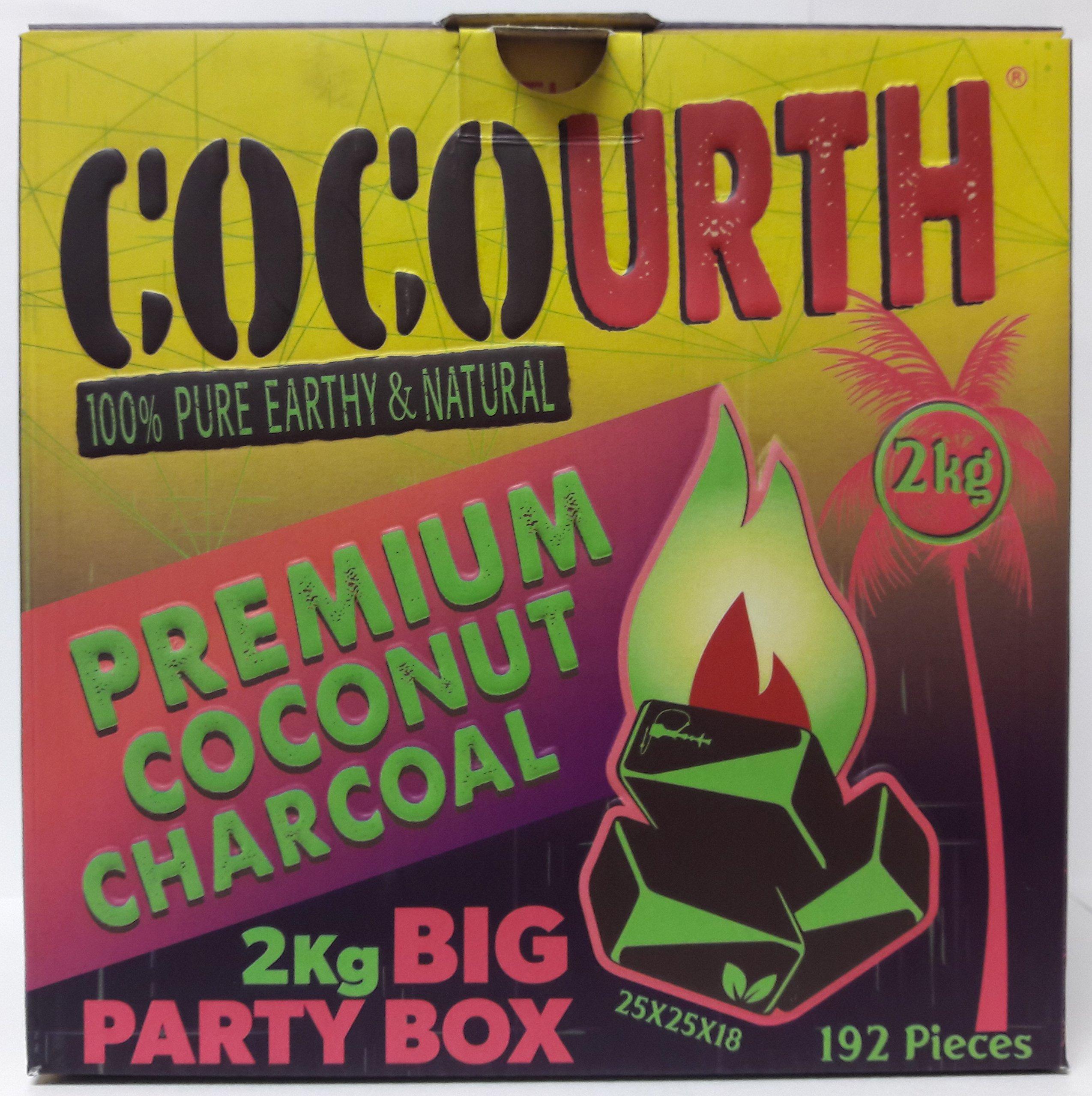 Hookah Natural Coconut Charcoal 192 Pieces FLATS Coco Urth 2 Kilo Shisha Coal PARTY BOX