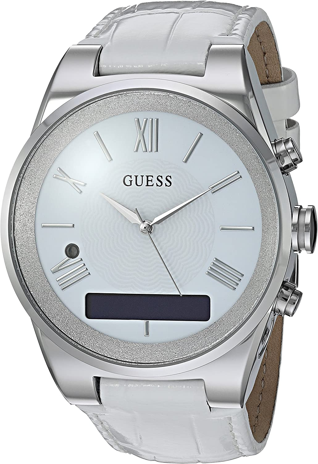 GUESS Womens Stainless Steel Connect Smart Watch - Amazon Alexa, iOS and Android Compatible, Color: Silver (Model: C0002MC1)