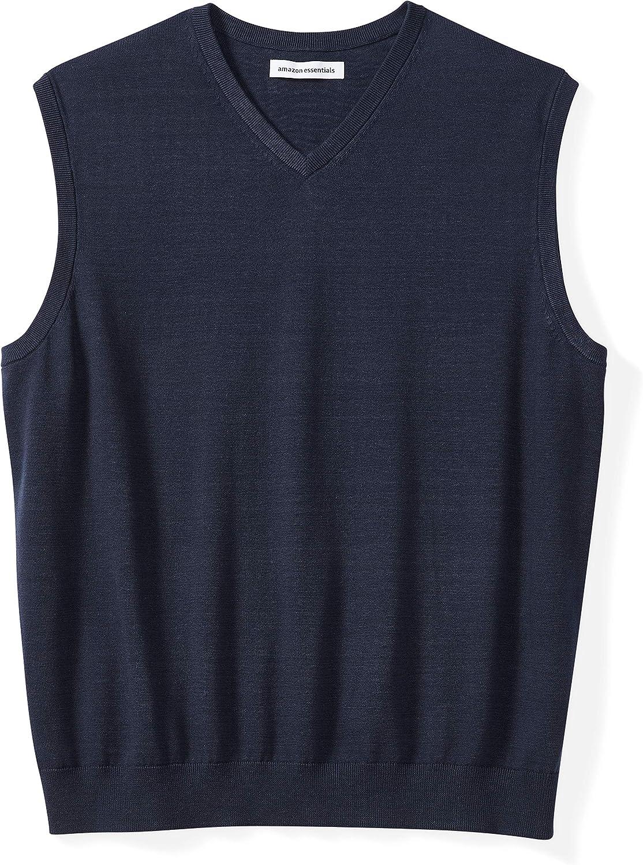 3X Tall Essentials Mens Big /& Tall V-Neck Sweater Vest Indigo Heather
