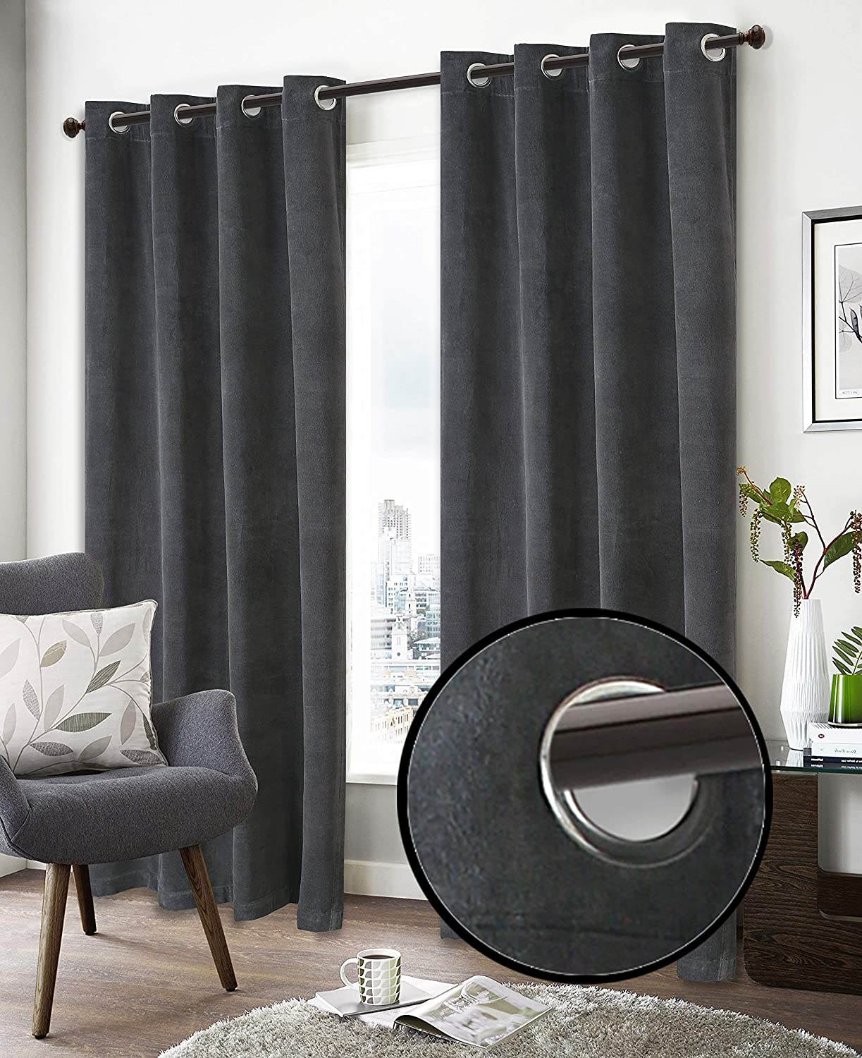 Super Soft Luxury Velvet Window Curtain, 50 Inch x 108 Inch, Velvet Cotton Grommet Window Curtain Panel, Set of 2, Charcoal