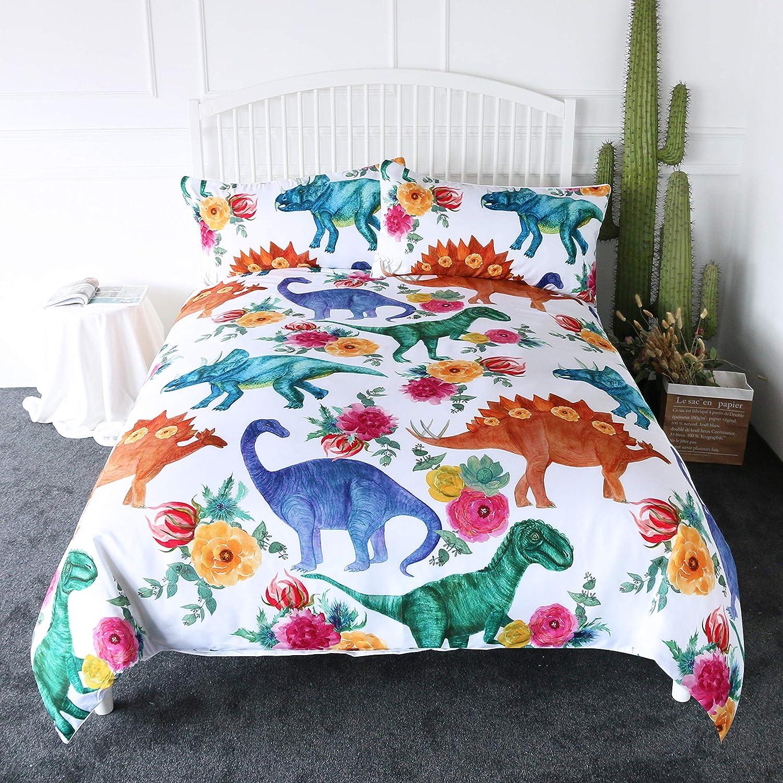 ARIGHTEX Dinosaur Bedding Kids Duvet Cover White Boys Girls Dino Floral Print 3 Pieces Teen Bedding Sets Full