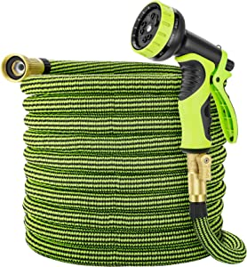 Eleegan Garden Hose 50 ft Water Hose with 10 Function Nozzle, Leakproof Flexible Expandable Hose with Solid Brass Fittings, Extra Strength 3750D Durable Expanding Yard Hose Car Wash Hose Pipe