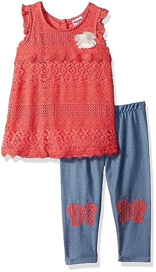 5aeb1c526c40 Amazon.com: Nannette Girls' 2 Piece Lace Capri Set: Clothing