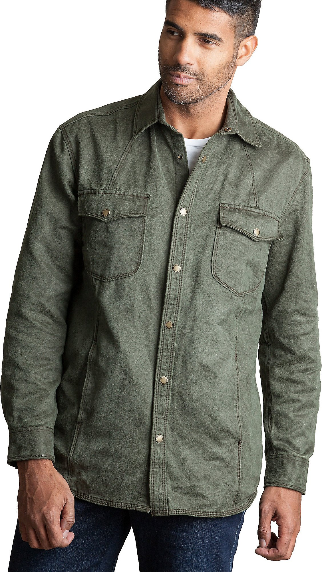 Ames Brushed Cotton-Blend Shirt, Olive, Size Small (34-36)