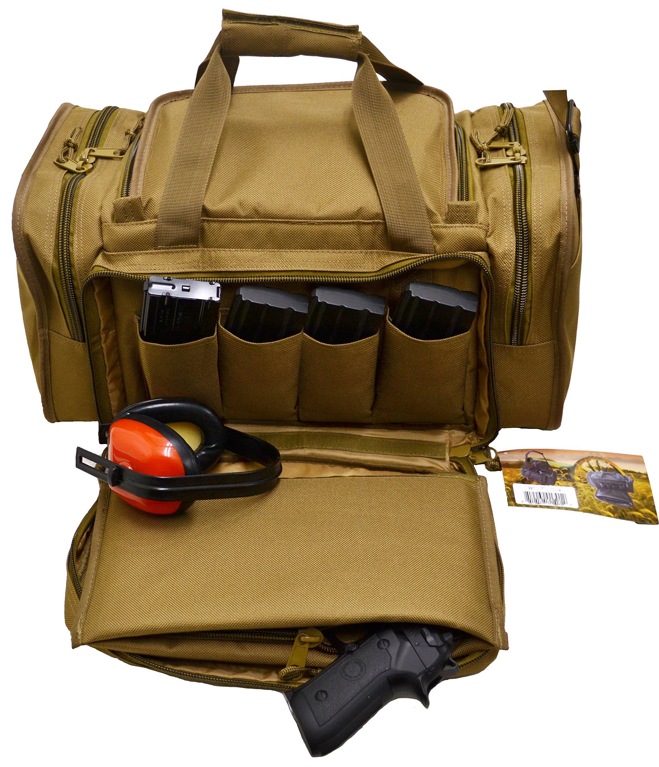Explorer Deluxe Tactical Shooting Ammo Accessory Range Gear Padded Carry Bag 13 Pistol Hand Gun Case + Heavy Duty Shoulder Pad by Explorer