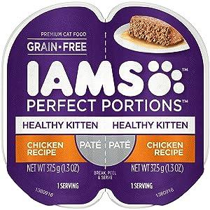 IAMS Perfect Portions Healthy Kitten Pate` Chicken Recipe (12-TRAYS =24 SINGLE SERVINGS)