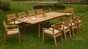 "11 PC A Grade Outdoor Patio Teak Dining Furniture Set - 117"" Double Extension Rectangle Table & 10 Vellore Stacking Arm Chairs"