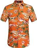 SSLR Herren Flamingos Blumen Freizeit Aloha Hawaii Hemd