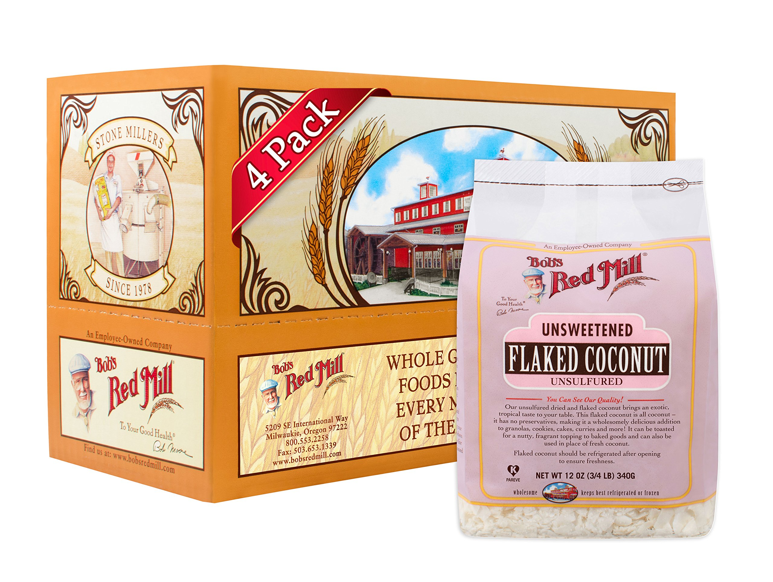 Bob's Red Mill Flaked Coconut (Unsweetened), 12 Ounce (Pack of 4)