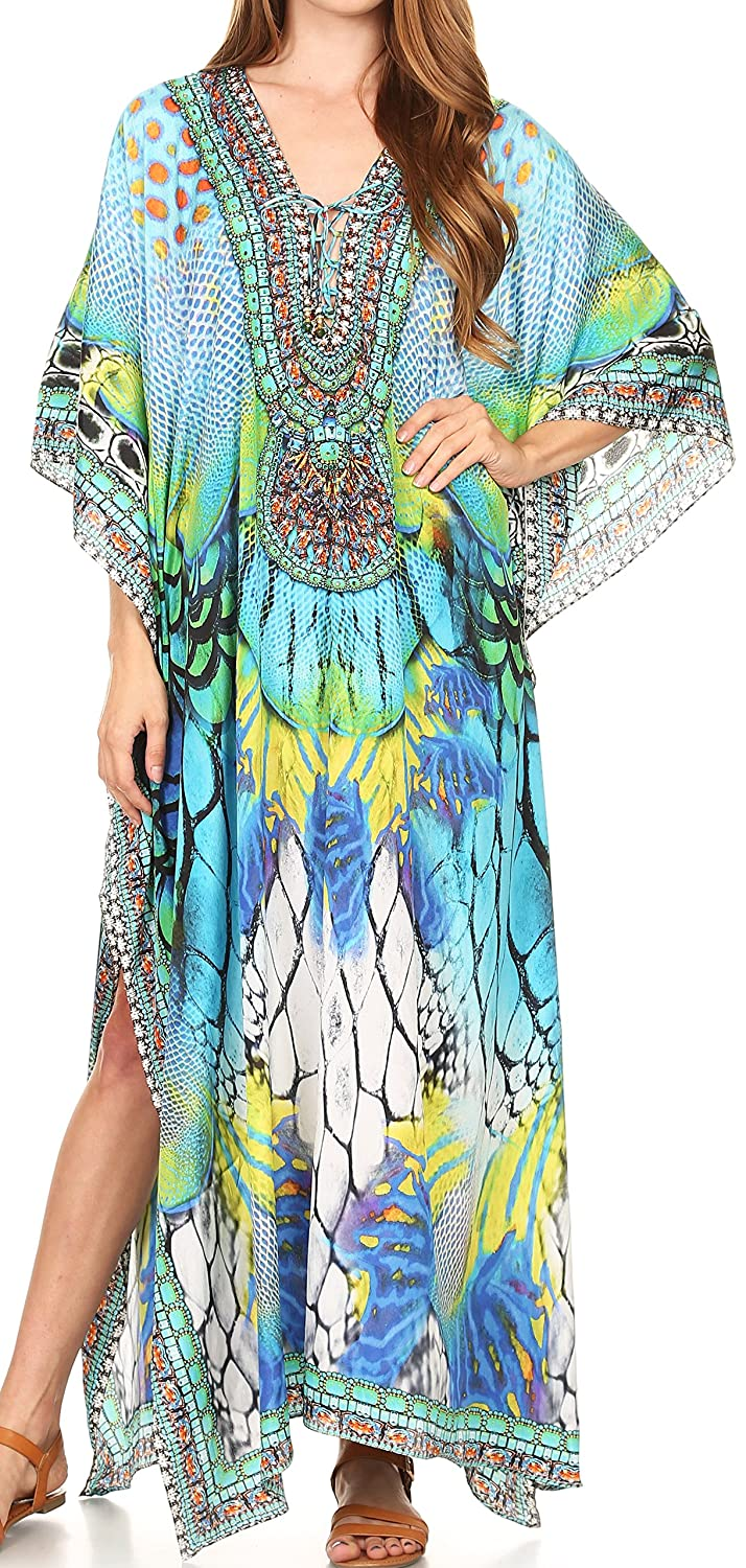 f5e5bd098b Sakkas 17193 - LongKaftan Georgettina Ligthweight Printed Long Caftan Dress/Cover  Up - 17193-TurquoiseMulti -OS at Amazon Women's Clothing store: